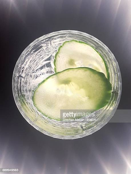 High Angle View Of Cucumbers In Gin Tonic Glass