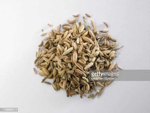 High Angle View Of Cumin On White Background