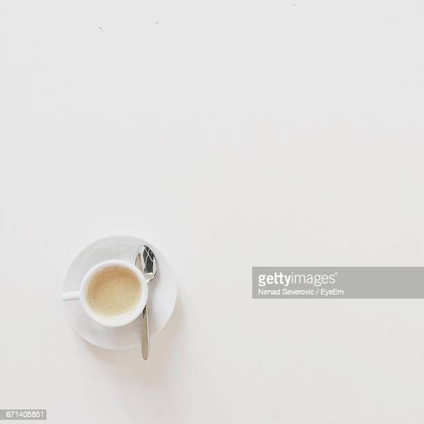 High Angle View Of Cup Of Coffee On White Background