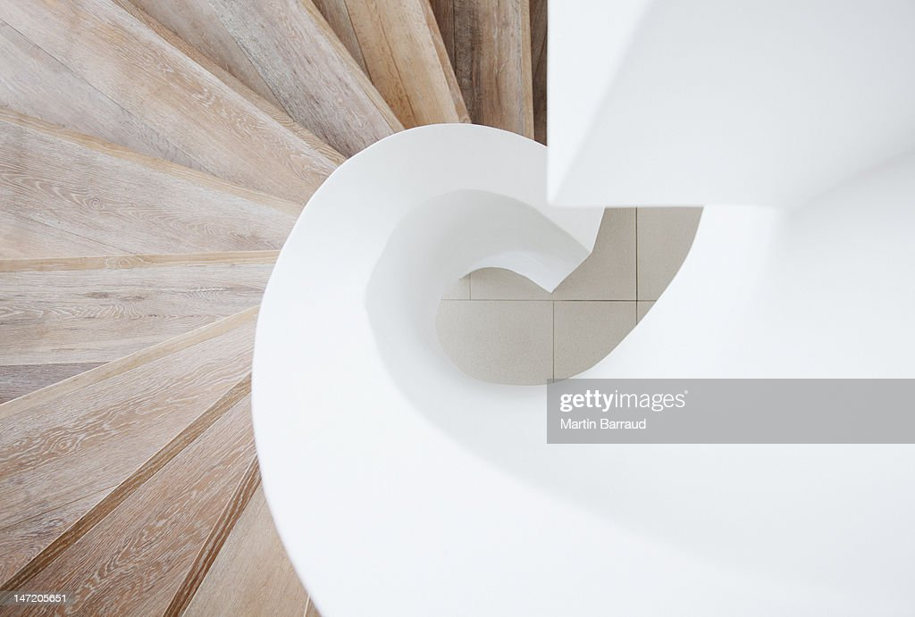 High angle view of curving staircase : Stock Photo