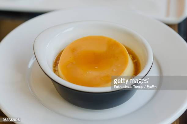 High Angle View Of Custard In Bowl On Table