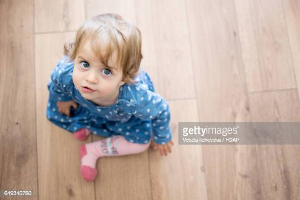 High angle view of cute baby girl