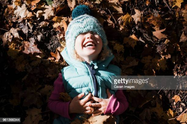 high angle view of cute girl with hands on stomach laughing while lying on fallen autumn leaves - handen op de buik stockfoto's en -beelden