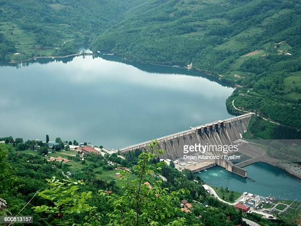 high angle view of dam at drina river - hydroelectric power station stock photos and pictures