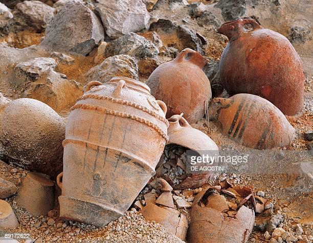 High angle view of damaged amphoras Akrotiri of Thera Akrotiri Santorini Cyclades Islands Southern Aegean Greece