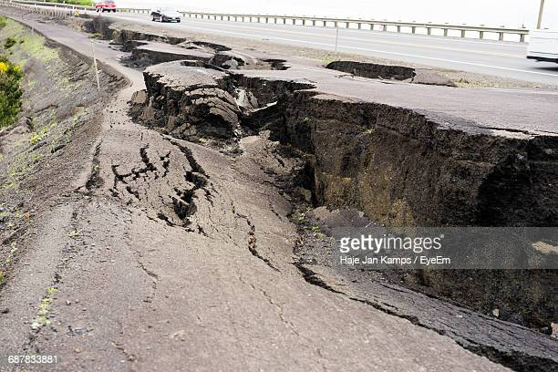 High Angle View Of Damaged Road During Earthquake