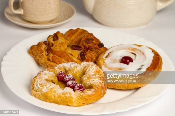 High Angle View Of Danish Pastries In Plate On Table
