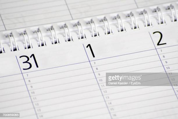 High Angle View Of Dates On Diary