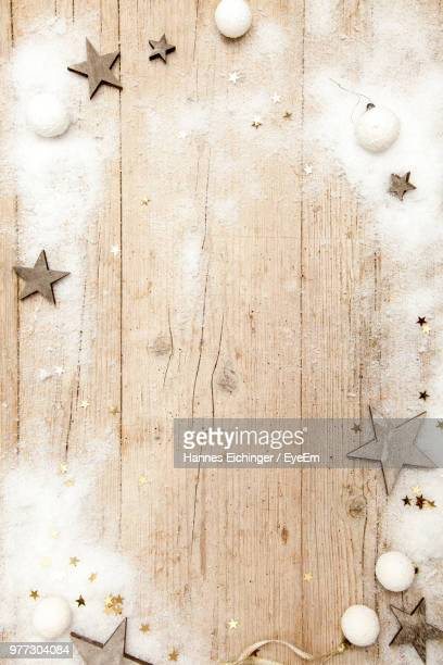 high angle view of decoration on fake snow over table - fake snow stock pictures, royalty-free photos & images