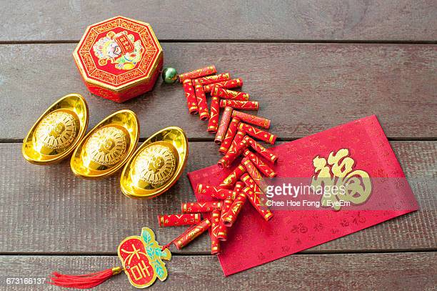 High Angle View Of Decorations On Table For Chinese New Year