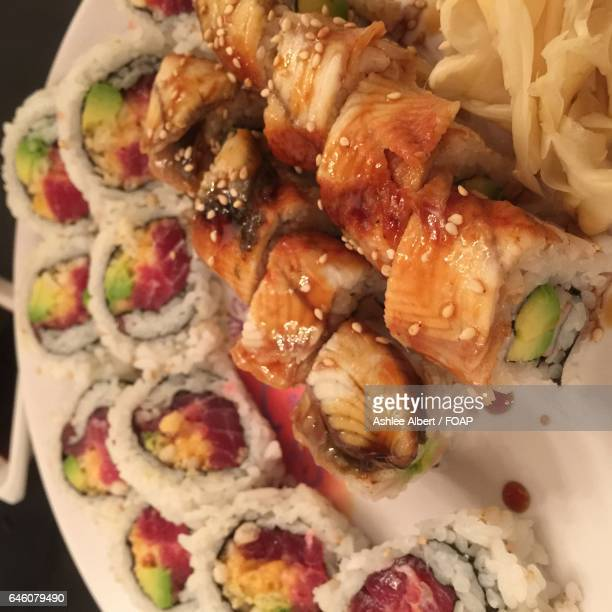 High angle view of delicious sushi in plate