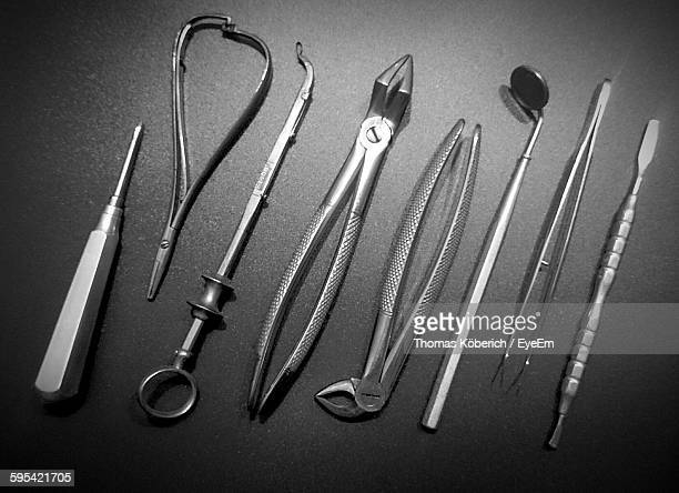 High Angle View Of Dental Tools In Tray