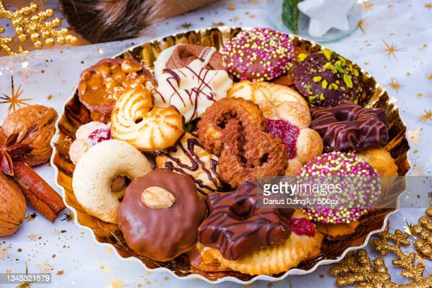 high angle view of dessert in plate on table - baum stock pictures, royalty-free photos & images