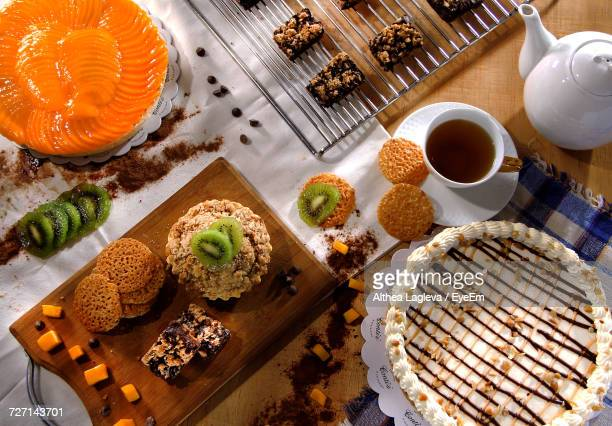 High Angle View Of Dessert On Table