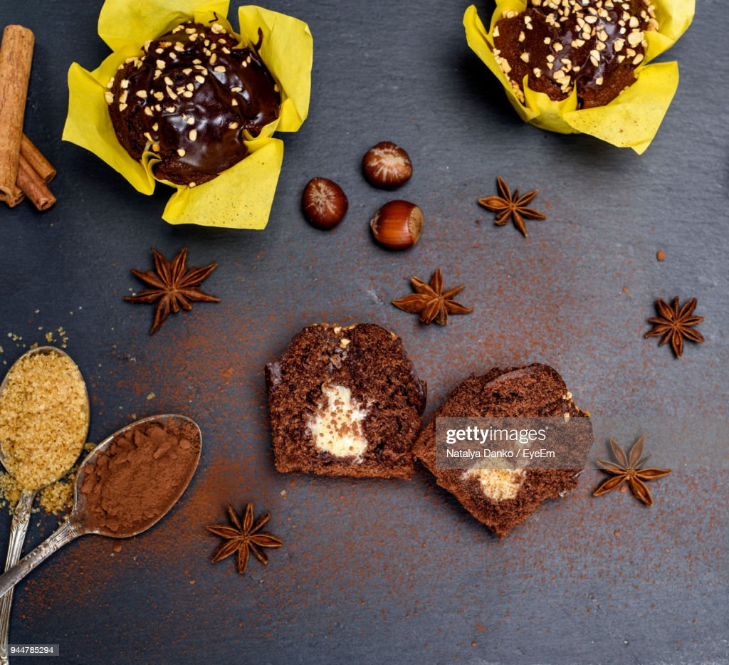 High Angle View Of Dessert On Table : Stock Photo