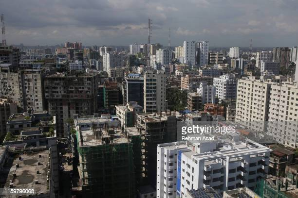 high angle view of dhaka city - dhaka stock pictures, royalty-free photos & images