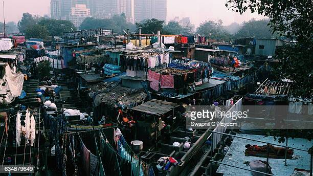 high angle view of dhobi ghat - indian slums stock pictures, royalty-free photos & images