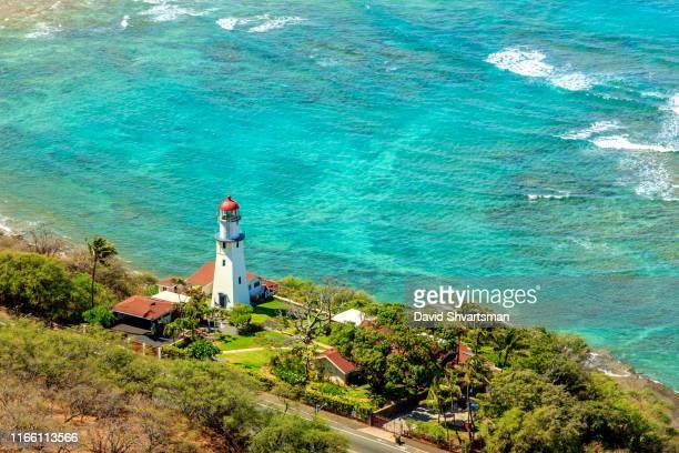 high angle view of diamond head lighthouse - honolulu, hawaii, usa - diamond head stock pictures, royalty-free photos & images
