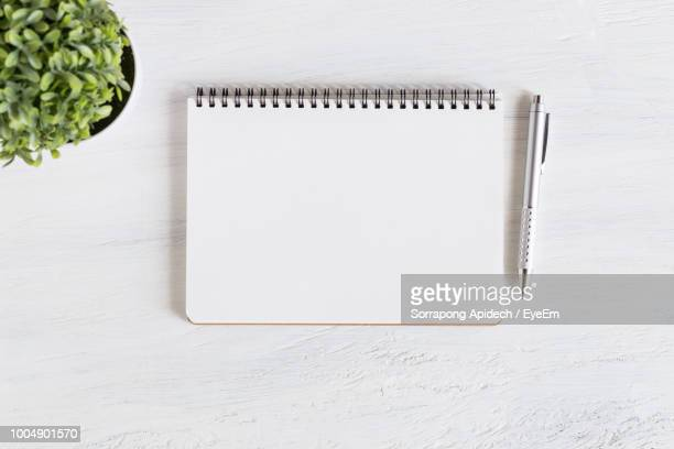 high angle view of diary with pen by plant on wooden table - notizbuch stock-fotos und bilder