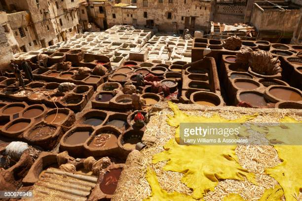 High angle view of dilapidated ancient ruins in cityscape, Medina, Fes, Morocco