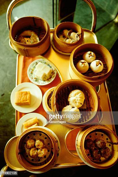 High angle view of dim sum on a trolley, Hong Kong, China