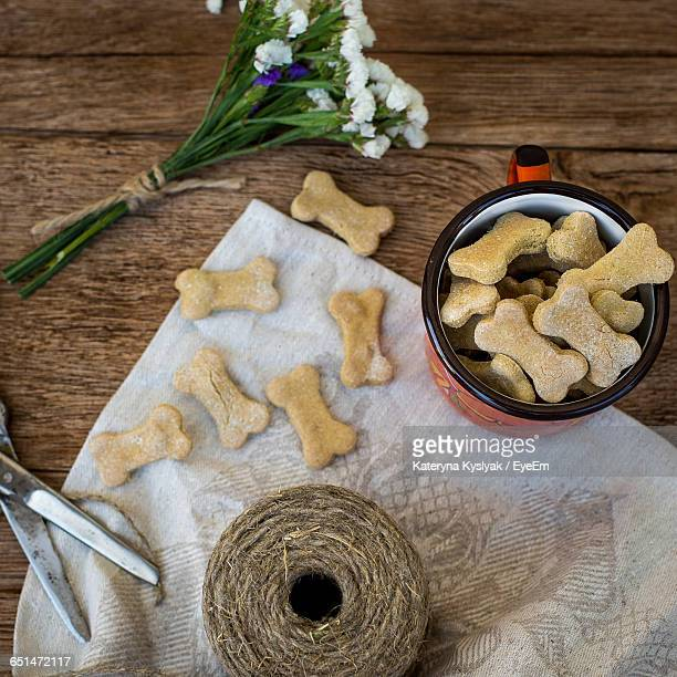 High Angle View Of Dog Biscuits On Table
