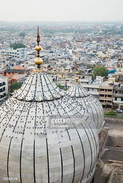 High angle view of domes on a mosque, Jama Masjid, New Delhi, India