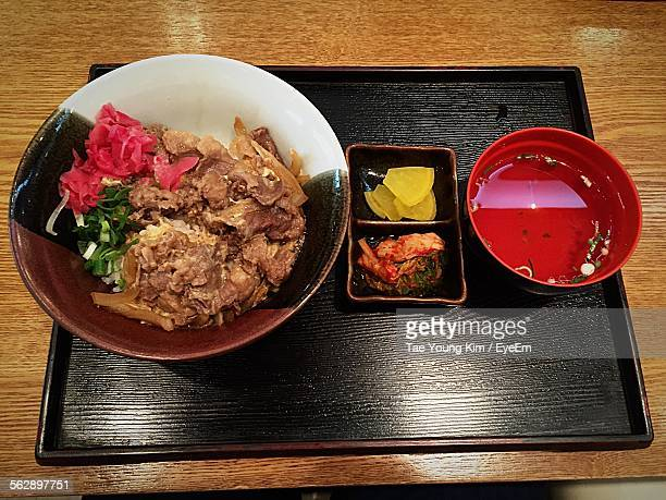 High Angle View Of Donburi In Bowl On Tray At Restaurant