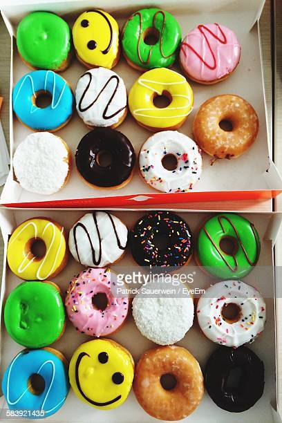 High Angle View Of Donuts In Box