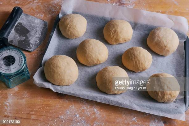High Angle View Of Dough In Tray