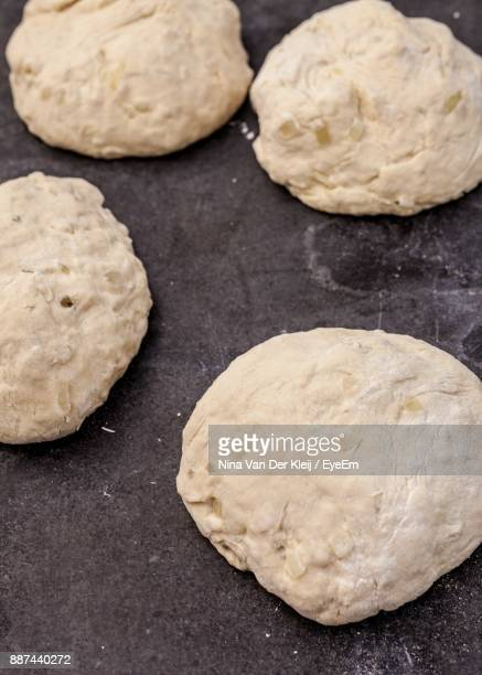 High Angle View Of Dough On Slate