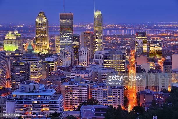 High angle view of downtown Montreal