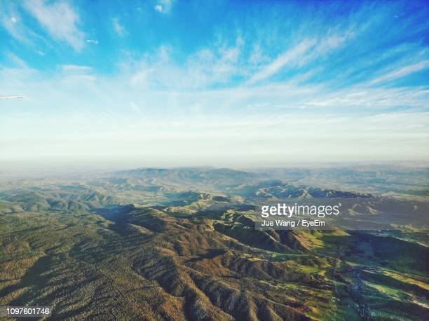 High Angle View Of Dramatic Landscape Against Sky
