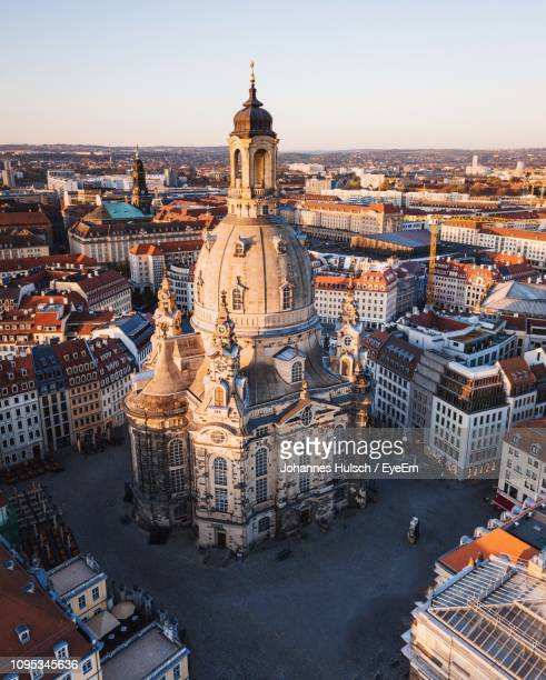 high angle view of dresden frauenkirche church in germany - dresden germany stock pictures, royalty-free photos & images