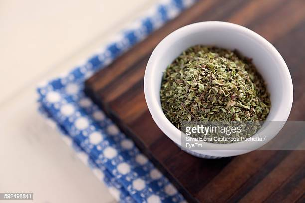 High Angle View Of Dried Oregano In Bowl On Table