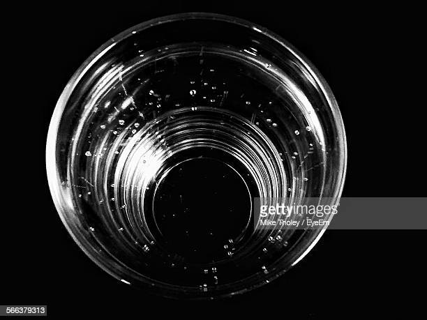 High Angle View Of Drinking Glass Against Black Background