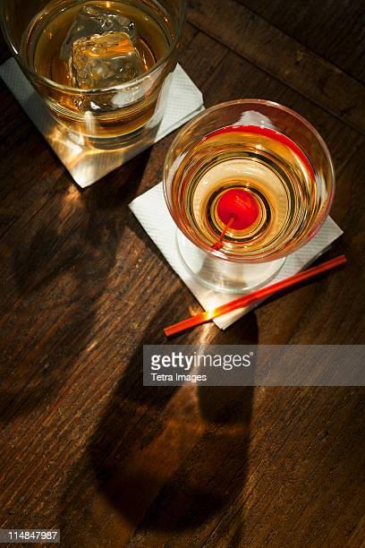 High angle view of drinks, studio shot