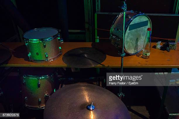 High Angle View Of Drum Kit At Concert