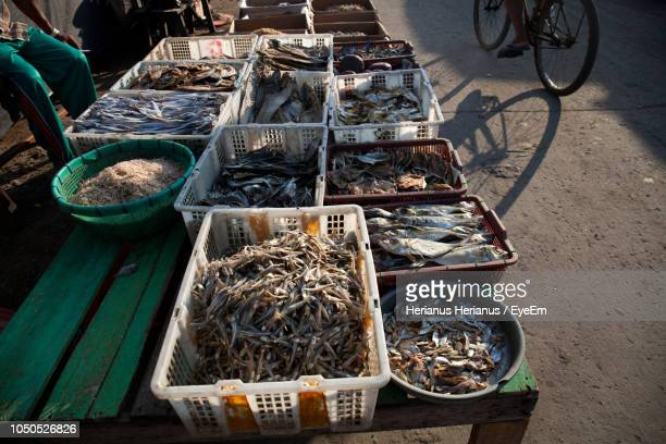 High Angle View Of Dry Fish For Sale At Market