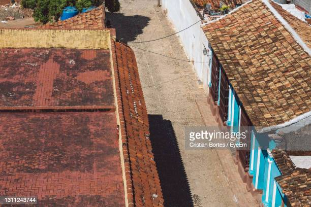 high angle view of drying outside building - bortes stock pictures, royalty-free photos & images