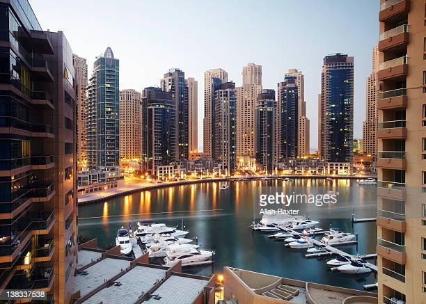 High angle view of Dubai marina