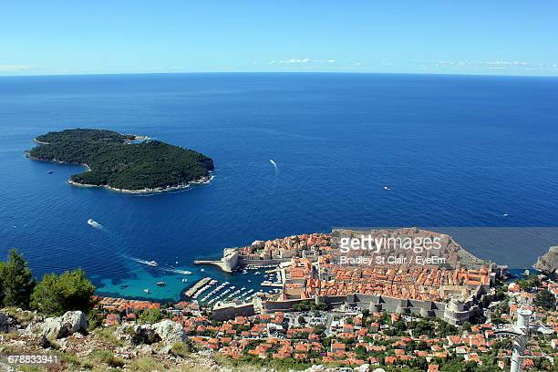High Angle View Of Dubrovnik City Against Sea