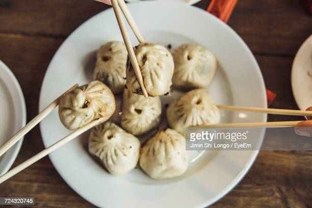 High Angle View Of Dumplings In Bowl