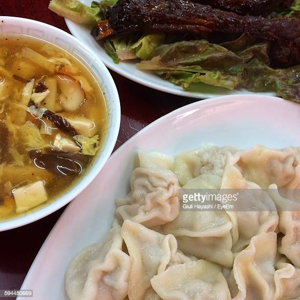 High Angle View Of Dumplings Served In Plate