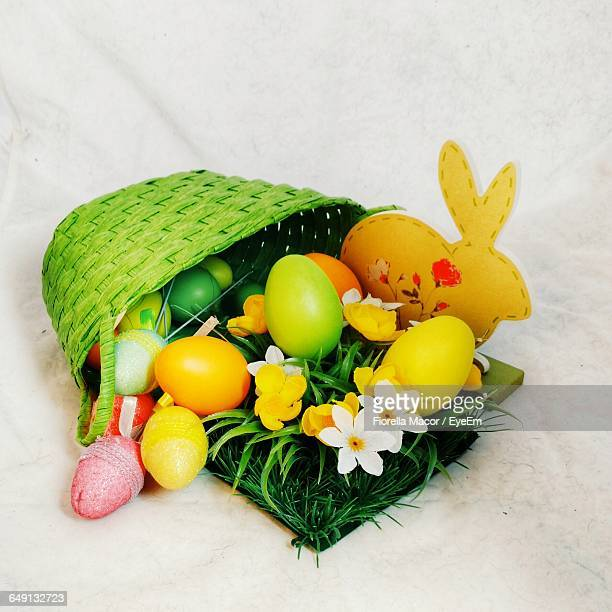 High Angle View Of Easter Decorations On Table