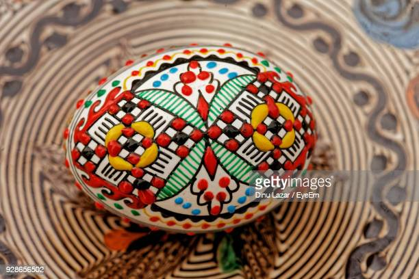 High Angle View Of Easter Egg On Table
