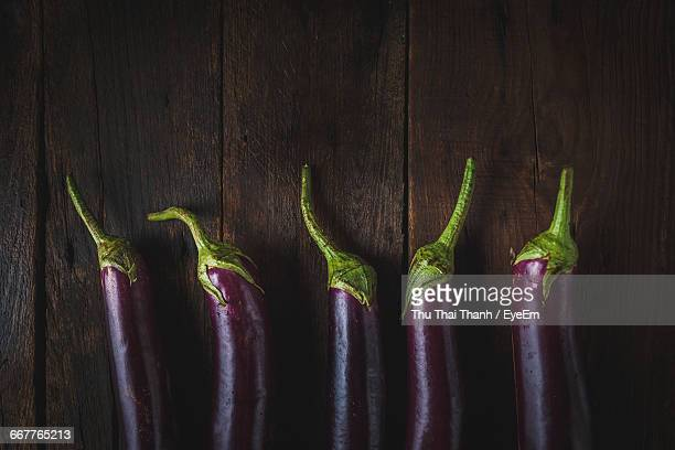 High Angle View Of Eggplants On Table