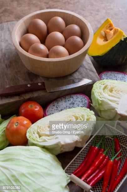 High Angle View Of Eggs And Vegetables In Bowl