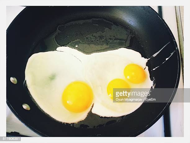 High angle view of eggs in frying pan