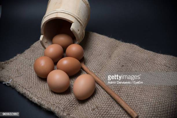 High Angle View Of Eggs On Burlap